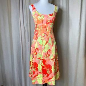 Tahari Creamsicle Floral Poplin Dress Size 4